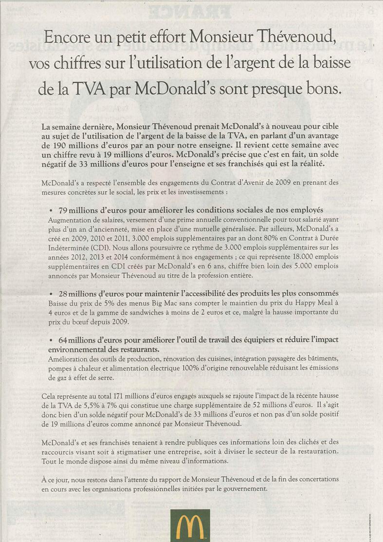La tribune de McDonald's publiée dans plusieurs journaux français mardi.
