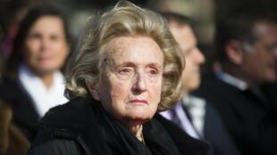 Bernadette Chirac, lors de l'inauguration de la place Charles Pasqua, le 13 mars 2016, au Plessis-Robinson.