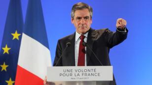 François Fillon, lundi 17 avril 2017, lors de son meeting à Nice.