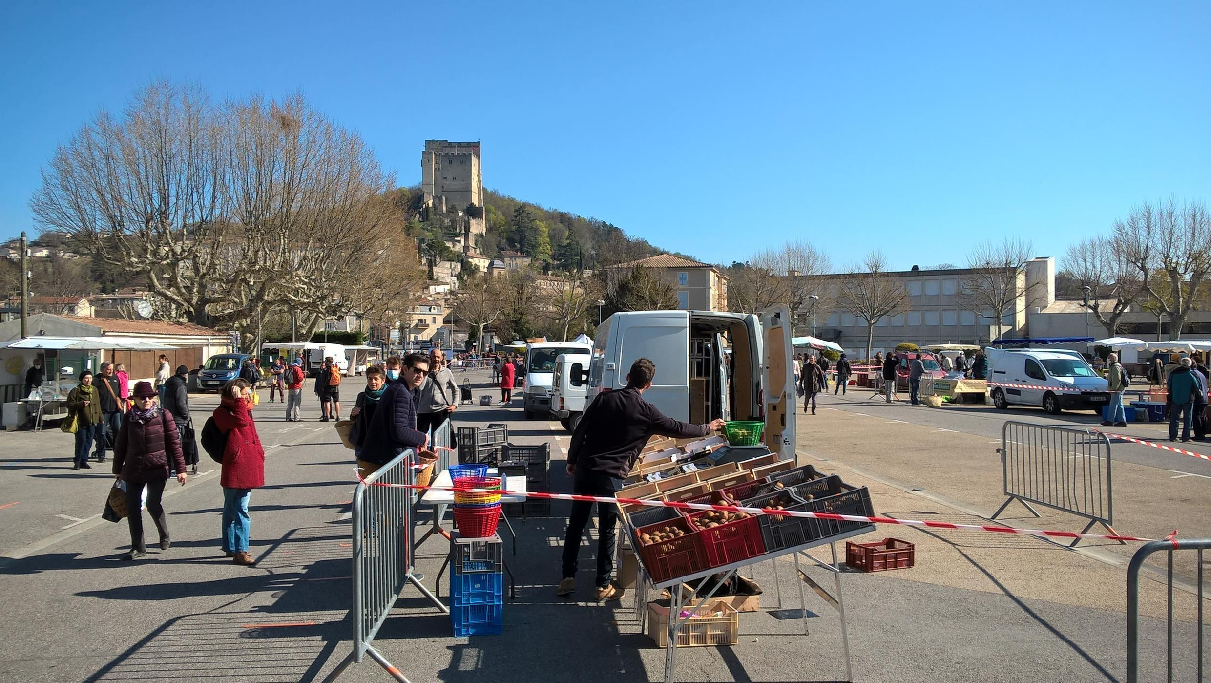 Crest's street market has moved to the large Champ de Mars Square where social distancing rules can be applied.