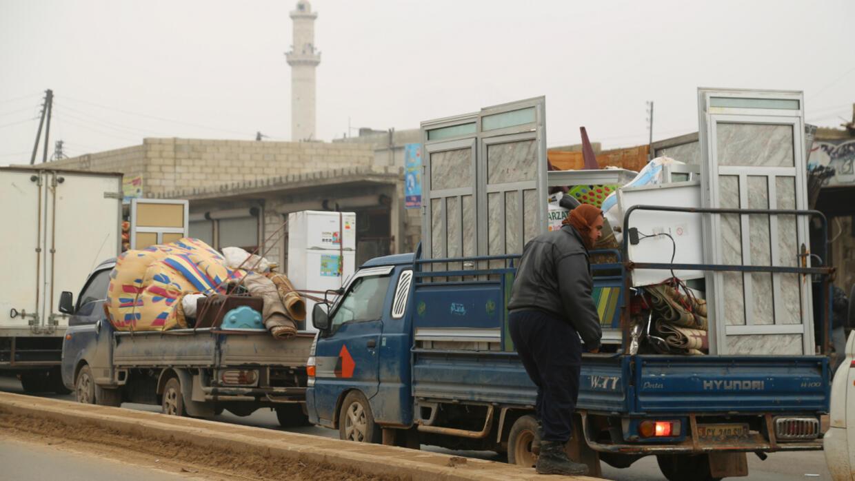 Plusieurs centaines de milliers de Syriens ont fui la région d'Idleb à la suite de l'intensification des combats et des bombardements, comme ici à Maaret al-Noomane (à l'ouest du pays), le 24 décembre 2019.