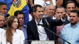 El proclamado presidente interino de Venezuela, Juan Guaidó, ofrece un discurso tras su regreso a Venezuela este 4 de marzo de 2019.