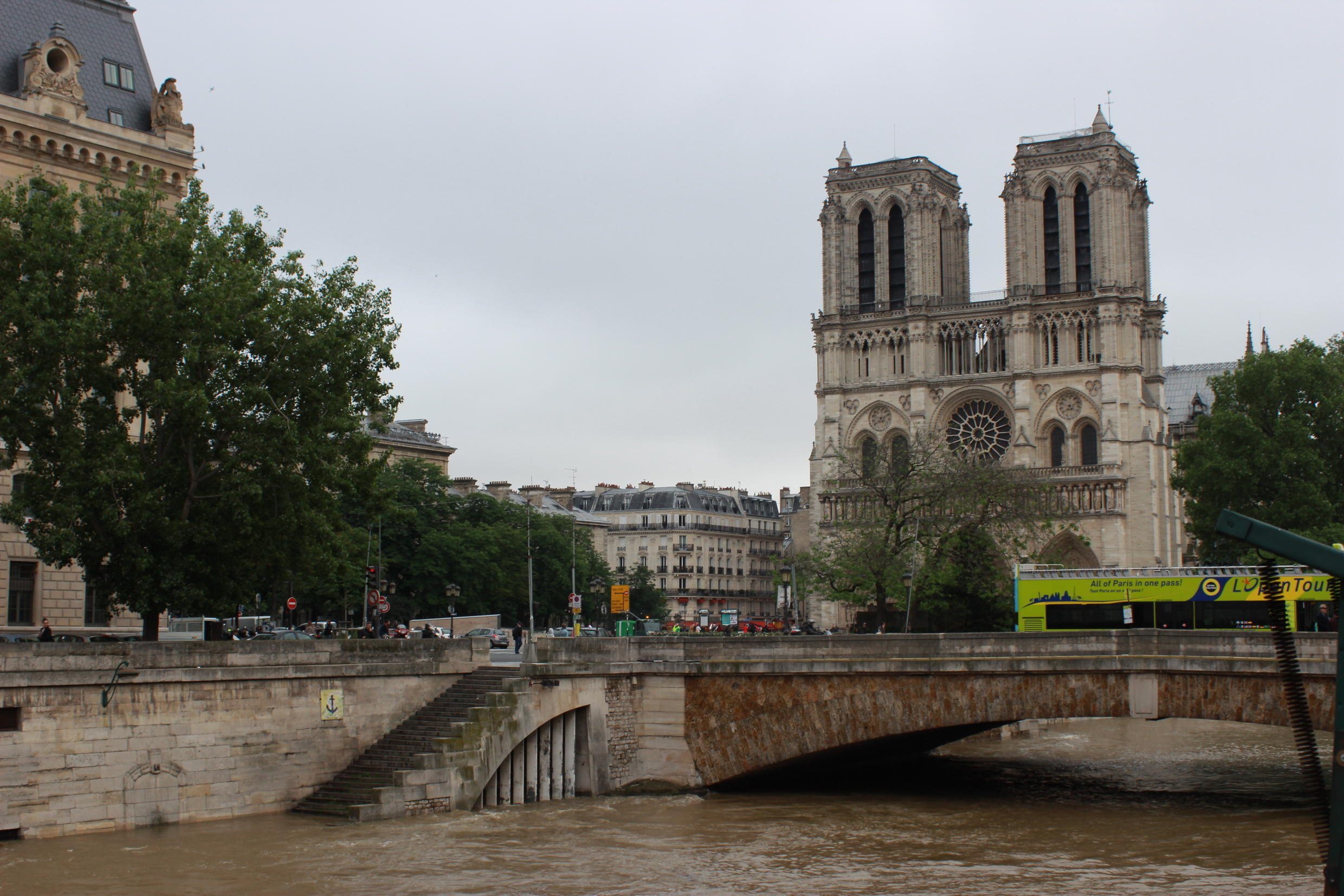 Some of France's most recognisable buildings are located in central Paris. Waves were lapping dangerously close to the Notre Dame Cathedral, also located on the Ile de la Cité.