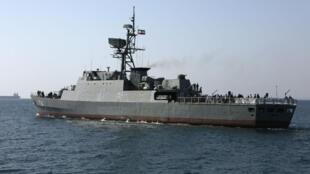 Navire de guerre iranien le long des côtes iraniennes, à Bandar Abbas, le 30 avril 2019.