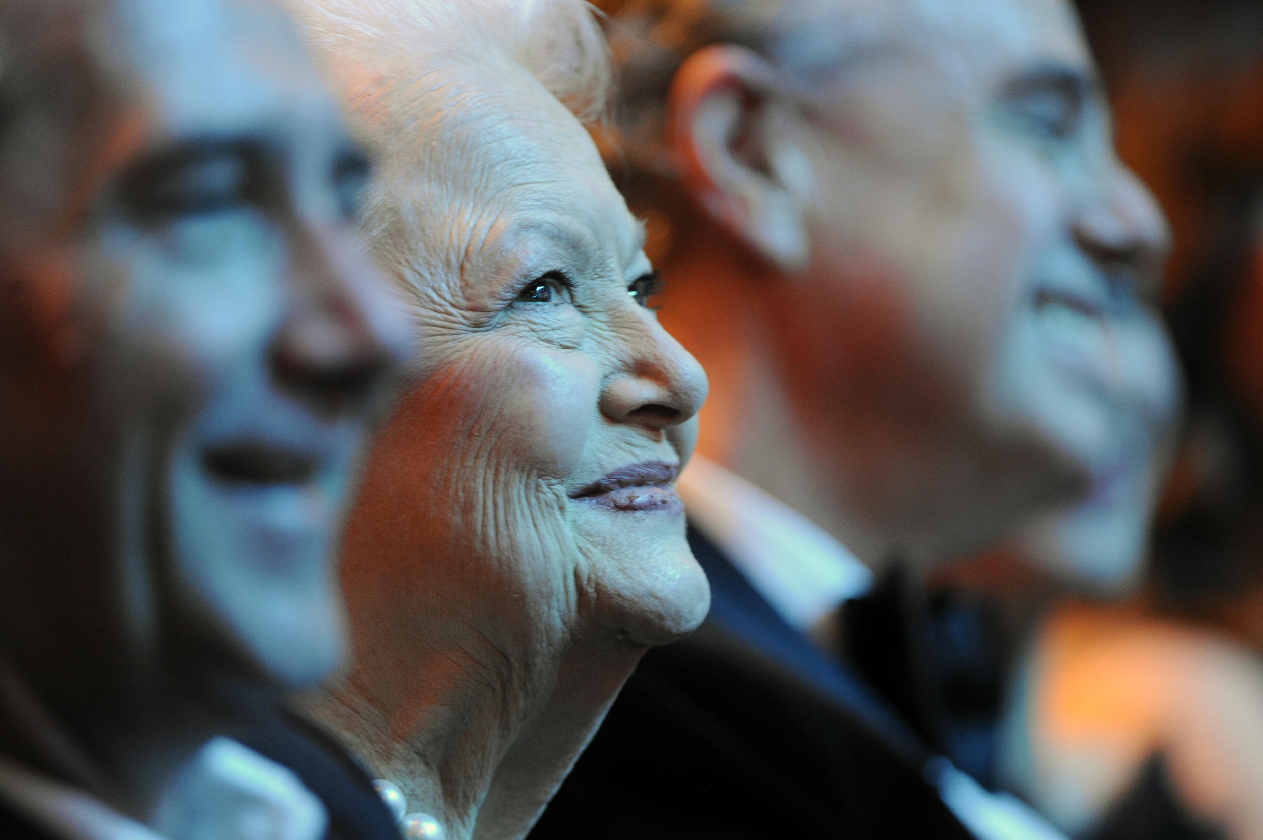 Actress Olivia de Havilland, shown here in 2011 in Paris, personified the glamour of Hollywood's Golden Age.