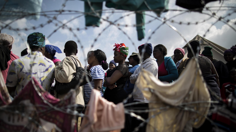 Des déplacés ayant fui les violences xénophobes, dans un camp à Primrose, près de Johannesburg, le 19 avril 2015.