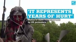 A statue of Edward Colston was toppled by protesters in Bristol, UK, on Sunday, June 7.