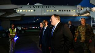 Le secrétaire d'État américain Mike Pompeo lors de son arrivée à Bagdad le 7 mai.