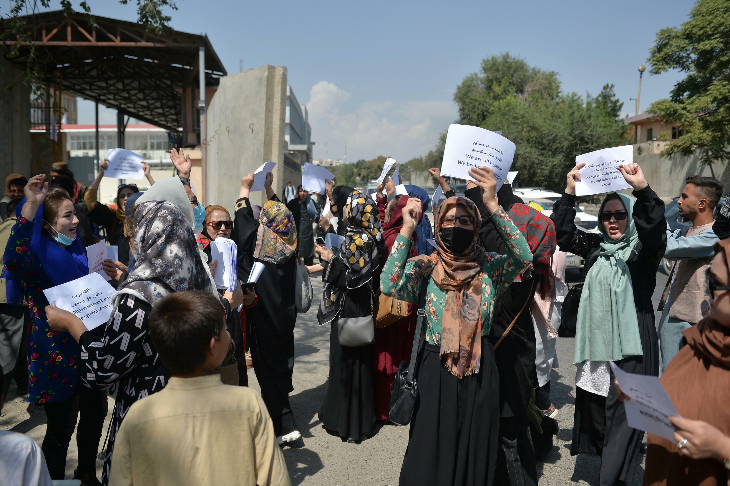 Afghan women protest in Kabul against the right to work and access to education