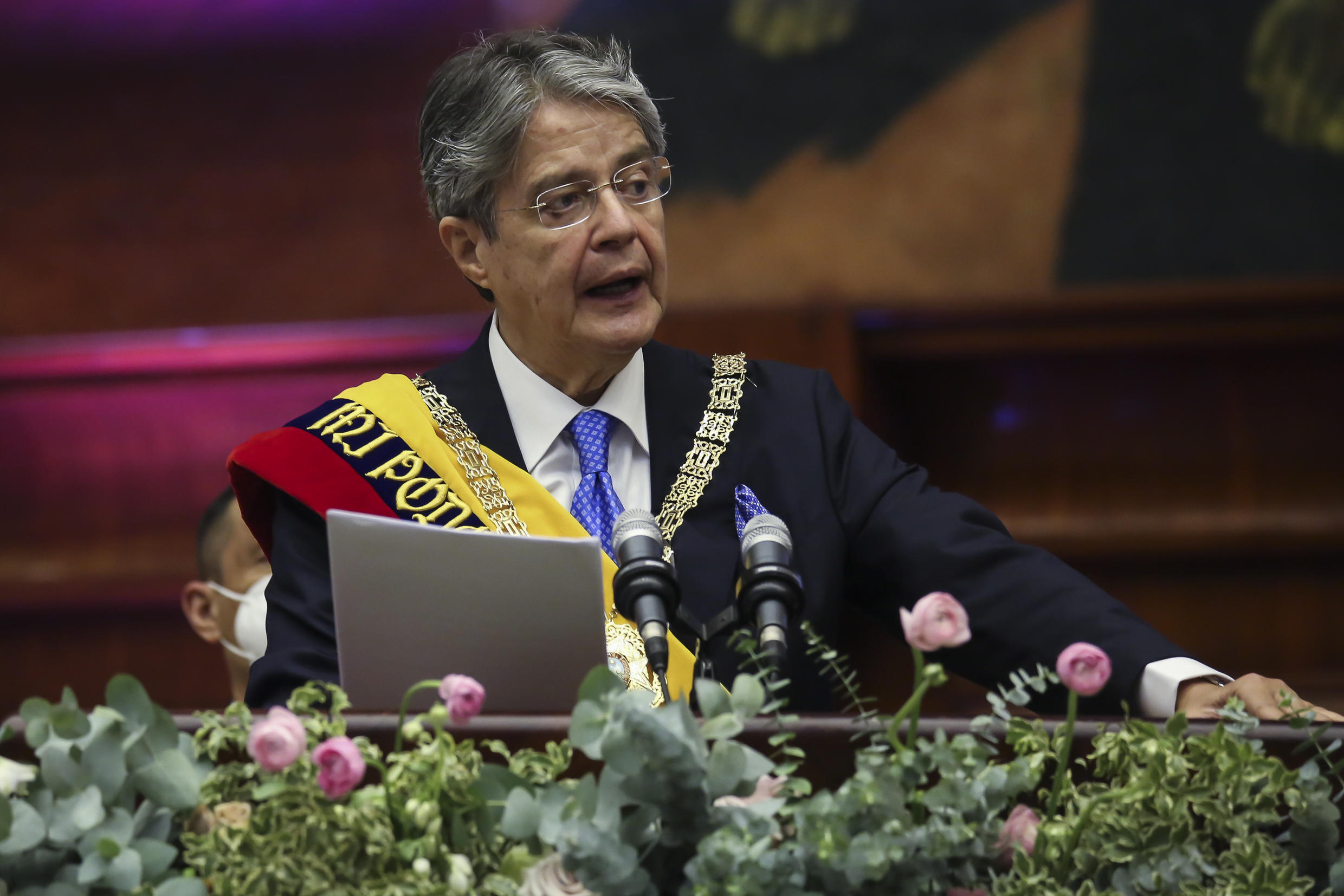 Ecuador's newly sworn-in President Guillermo Lasso deliver's a speech during his inauguration at the National Assembly in Quito