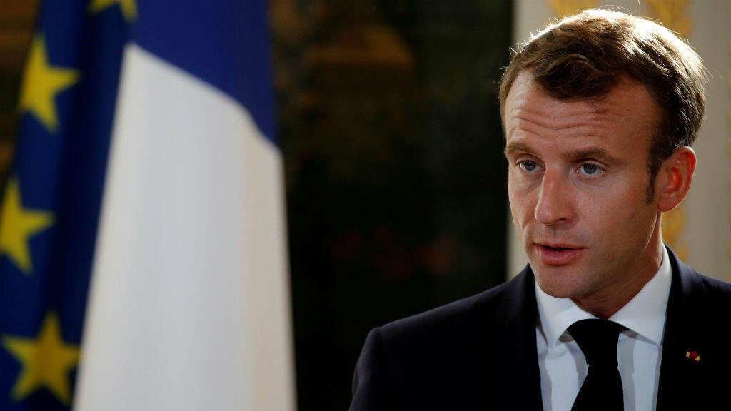 Emmanuel Macron s'exprimant à l'Élysée lors d'une conférence de presse, le 15 octobre 2018.