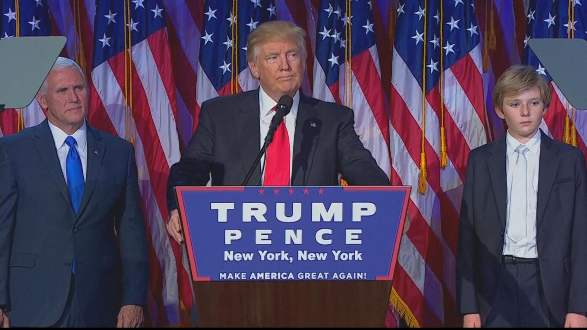 President-elect Donald Trump gives his victory speech on November 9, 2016.