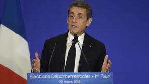 UMP party chief and former French president Nicolas Sarkozy on March 22, 2015