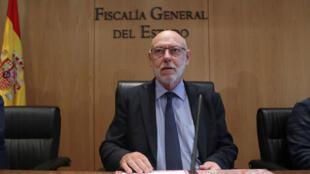 El fiscal general del Estado español, José Manuel Maza, presentando las querellas contra Carles Puigdemont y su gobierno. 10/30/2017