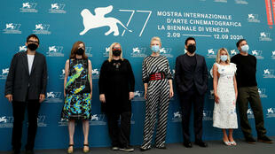 Members of the international juries pose as the 77th Venice Film Festival opens, on September 2, 2020: President of the jury Cate Blanchett and members of the jury Nicola Lagioia of Italy, Joanna Hogg of Britain, Veronika Franz of Austria, Matt Dillon from the US, Ludivine Sagnier of France and Christian Petzold of Germany.
