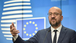 European Council President Charles Michel holds a news conference at the conclusion of the first day of an EU summit in Brussels early on October 2, 2020.