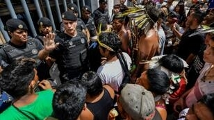"Brazilian indigenous people (Guarani pictured March 2019 protesting their healthcare conditions in Sao Paulo) warned that since Bolsonaro's election, ""we are experiencing the first stages of an apocalypse"""