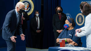 US President Joe Biden attends Covid-19 vaccinations at the White House to commemorate administering of 50 million shots