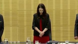 New Zealand's Prime Minister Jacinda Ardern observes a minute of silence, to mark one week since the deadly eruption of White Island, in Wellington, New Zealand, December 16, 2019, in this still image taken from video.