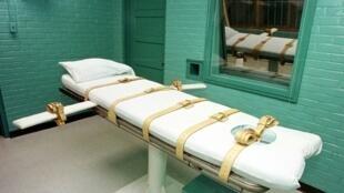 """La """"cámara de la muerte"""" en el Departamento de Justicia Criminal de Texas, en Huntsville, aquí fotografiado el 29 de febrero de 2000"""