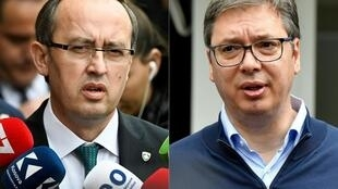Kosovo Prime Minister Avdullah Hoti (L) and Serbian President Aleksandar Vucic (R) will meet at the White House in Washington to discuss economic cooperation