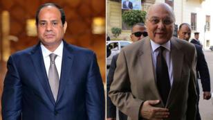El presidente de Egipto Abdelfatah al-Sisi junto a su rival electoral Musa Mustafa Musa, imágenes de archivo.