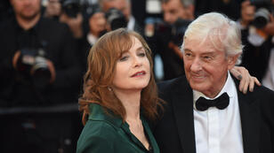 "Dutch director Paul Verhoeven and French megastar Isabelle Huppert arrive for the screening of ""Elle"", a rape-revenge thriller presented in official competition."