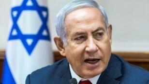 رئيس الوزراء الإسرائيلي بنيامين نتانياهو خلال الاجتماع الأسبوعي للحكومة في القدس في 12 آب/أغسطس