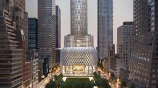 Aperçu de ce à quoi devrait ressembler le building du 666 5e Avenue, à New York, tel que l'imagine Jared Kushner.