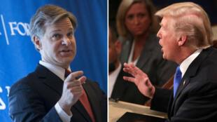 Le directeur du FBI Christopher Wray (à gauche) et le président américain Donald Trump.