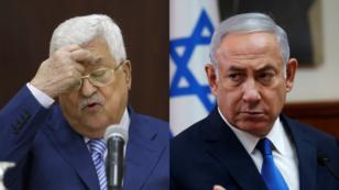 (Izq.) El presidente de la Autoridad Palestina, Mahmoud Abbas. (Der) El primer ministro de Israel, Benjamin Netanyahu.