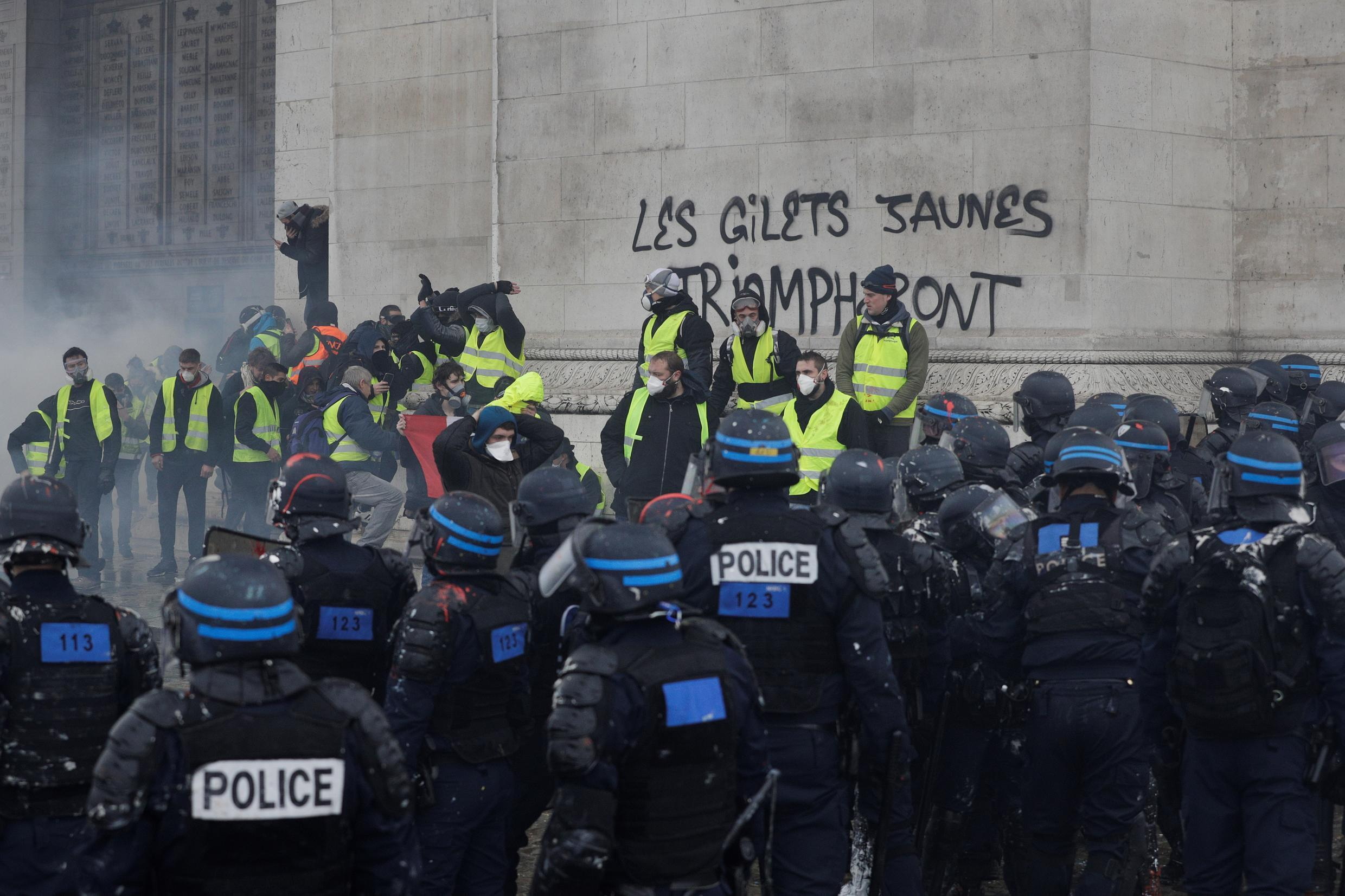 """The Arc de Triomphe was looted and vandalised during a """"yellow vest"""" protest that rocked Paris on December 1, 2018."""
