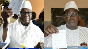 Le président sortant Ibrahim Boubacar Keïta (à g.) et l'opposant Soumaïla Cissé (à d.) s'apprêtent à voter, le 29 juillet 2018.