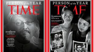 Fotomontaje de las portadas de la Revista 'TIME' donde aparecen el periodista saudita asesinado Jamal Khashoggi (izquierda) y los periodistas de Reuters, Wa Lone, de 32 años, y Kyaw Soe Oo, de 28 años, nombrados Personajes del año 2018 por esta publicación semanal estadounidense.