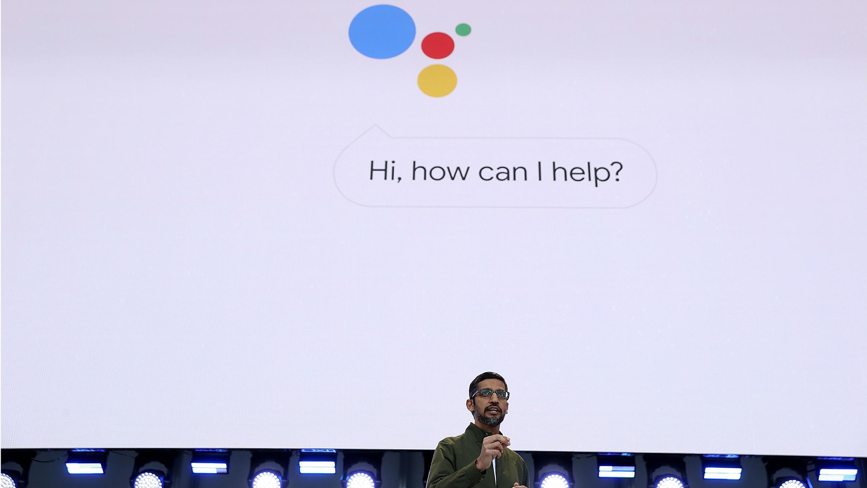 El presidente de Google, Sundar Pichai, inaugura la conferencia para desarrolladores Google I/O 2018 en el auditorio Shoreline Amphitheate el 8 de mayo de 2018.
