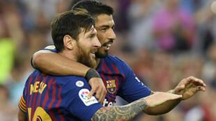 Lionel Messi et Luis Suarez, déjà en jambes avec le Barça.