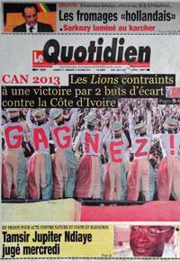 La Une du journal sénégalais Le Quotidien