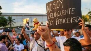 Protesta tras el asesinato del periodista mexicano Javier Enrique Rodríguez Valladares, el 31 de agosto de 2018 en Cancún