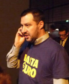 """Northern League leader Matteo Salvini was a hit at the conference with his """"Basta Euro"""" (Enough of the euro) T-shirt."""