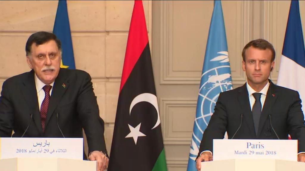 Le président français Emmanuel Macron et le Premier ministre libyen Fayez al-Sarraj, à Paris, le 29 mai 2018.