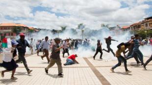 Des soutiens de Marc Ravalomanana manifestent, le 2 janvier 2019, à Antananarivo, pour contester l'élection d'Andry Rajoelina.