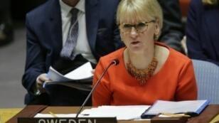 وزيرة خارجية السويد مارغو ولستروم تتحدث في الأمم المتحدة في نيويورك في 15 كانون الأول/ديسمبر 2017