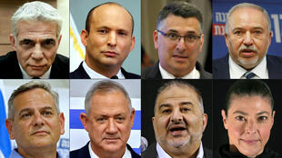 A combination of pictures created on June 2 shows the heads of Israel's newly-announced 'change' coalition who are united by their hostility to Benjamin Netanyahu, Israel's longest-serving prime minister whose rule could end on Sunday