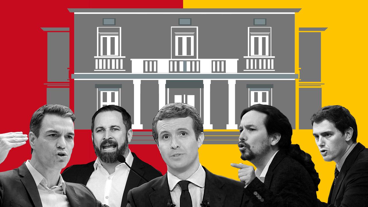 De izquierda a derecha: los candidatos Pedro Sánchez (PSOE), Santiago Abascal (Vox), Pablo Casado (PP), Pablo Iglesias (Podemos) y Albert Rivera (Ciudadanos).