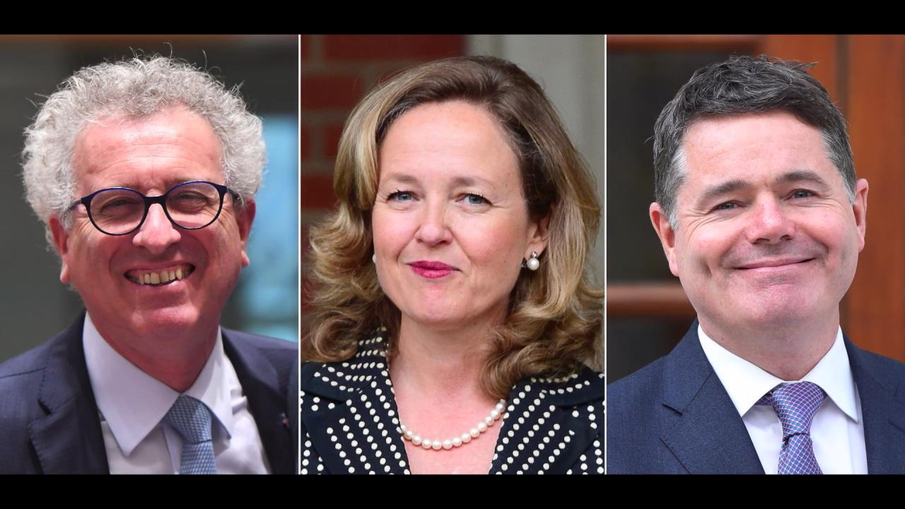 The three candidates for the presidency of the Eurogroup: Pierre Gramegna from Luxembourg, Spain's Nadia Calvino and Ireland's Paschal Donohoe.