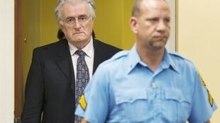 الزعيم السياسي السابق لصرب البوسنة رادوفان كرادجيتش (يسار) في قاعة المحكمة في لاهاي