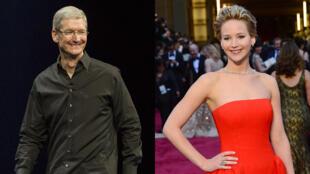 Les photos de Jennifer Lawrence (à droite sur la photo) auraient été volées sur son compte iCloud, le service de stockage d'Apple, présidé par Tim Cook (à gauche).