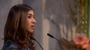 La lauréate du prix Nobel de la paix 2018 Nadia Murad lors de sa prise de parole après la remise du prix à Oslo, le 10 décembre 2018.