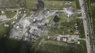 Vista aérea del sitio que sufrió una serie de explosiones de los depósitos de fuegos artificiales en Tultepec, Estado de México. 5 de julio de 2018.