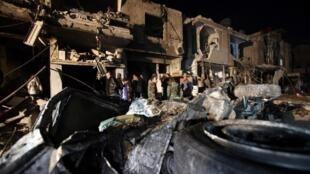 مكان استهدفته التفجيرات بمنطقة السيدة زينب بدمشق